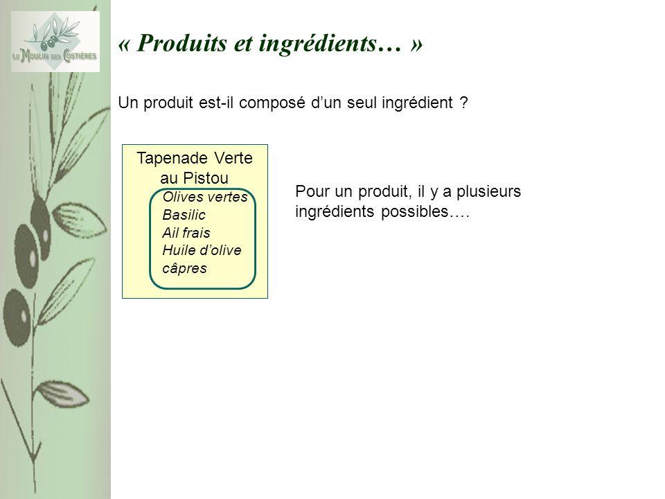 « Produits et ingrédients… » Un produit est-il composé dun seul ingrédient .