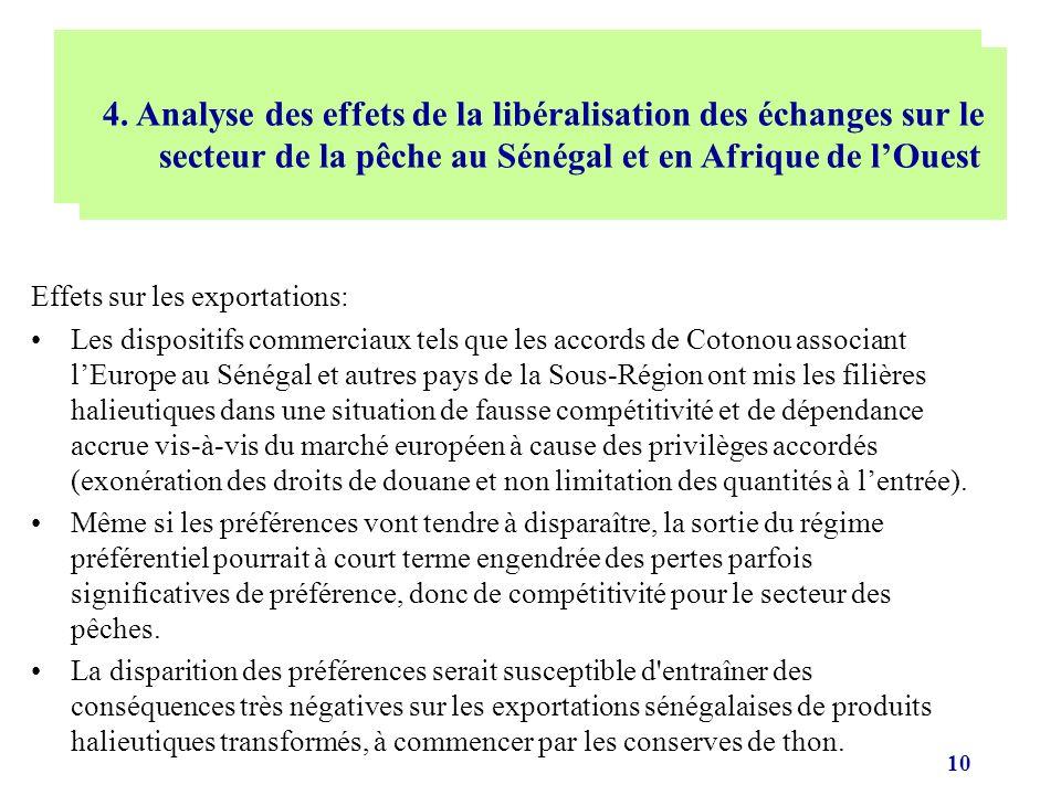 10 Effets sur les exportations: Les dispositifs commerciaux tels que les accords de Cotonou associant lEurope au Sénégal et autres pays de la Sous-Rég