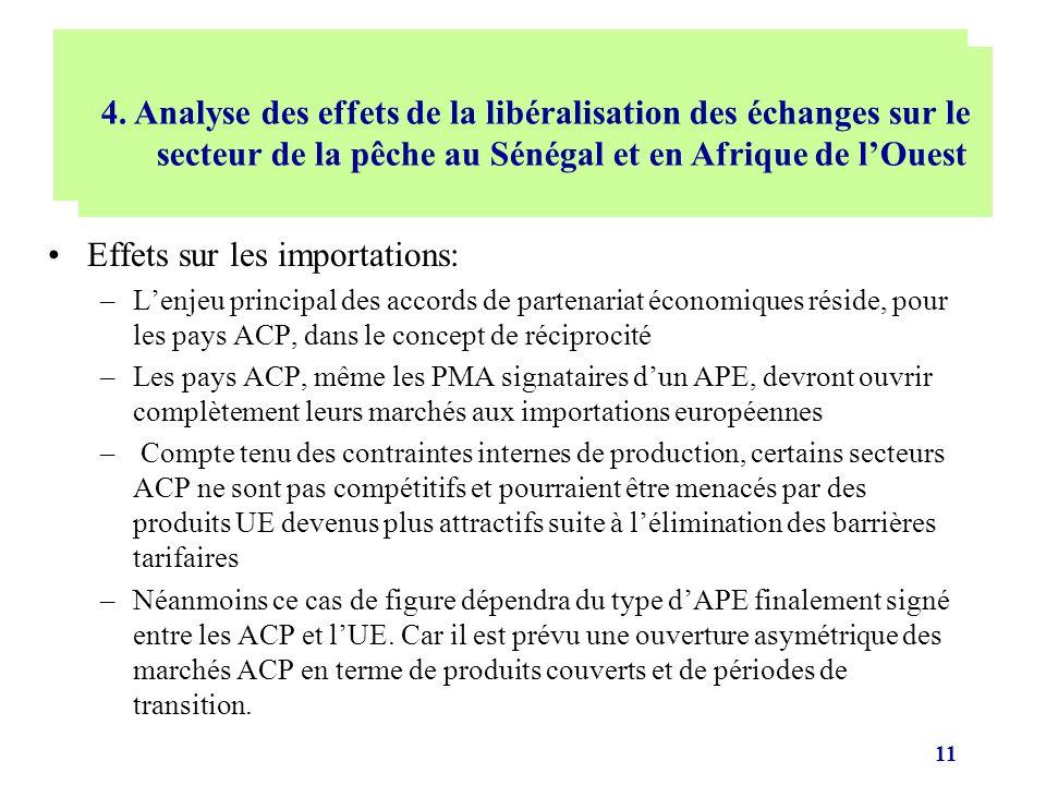 11 Effets sur les importations: –Lenjeu principal des accords de partenariat économiques réside, pour les pays ACP, dans le concept de réciprocité –Le