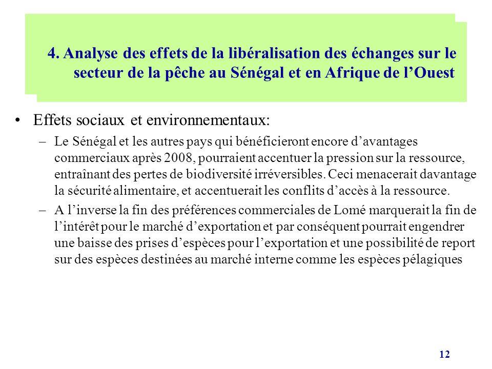 12 Effets sociaux et environnementaux: –Le Sénégal et les autres pays qui bénéficieront encore davantages commerciaux après 2008, pourraient accentuer