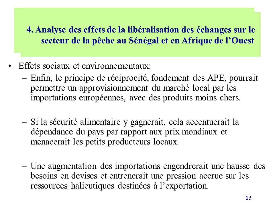 13 Effets sociaux et environnementaux: –Enfin, le principe de réciprocité, fondement des APE, pourrait permettre un approvisionnement du marché local