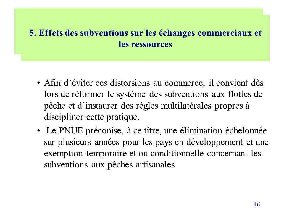 16 Afin déviter ces distorsions au commerce, il convient dès lors de réformer le système des subventions aux flottes de pêche et dinstaurer des règles