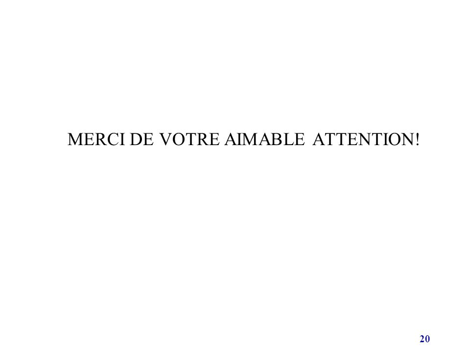 20 MERCI DE VOTRE AIMABLE ATTENTION!