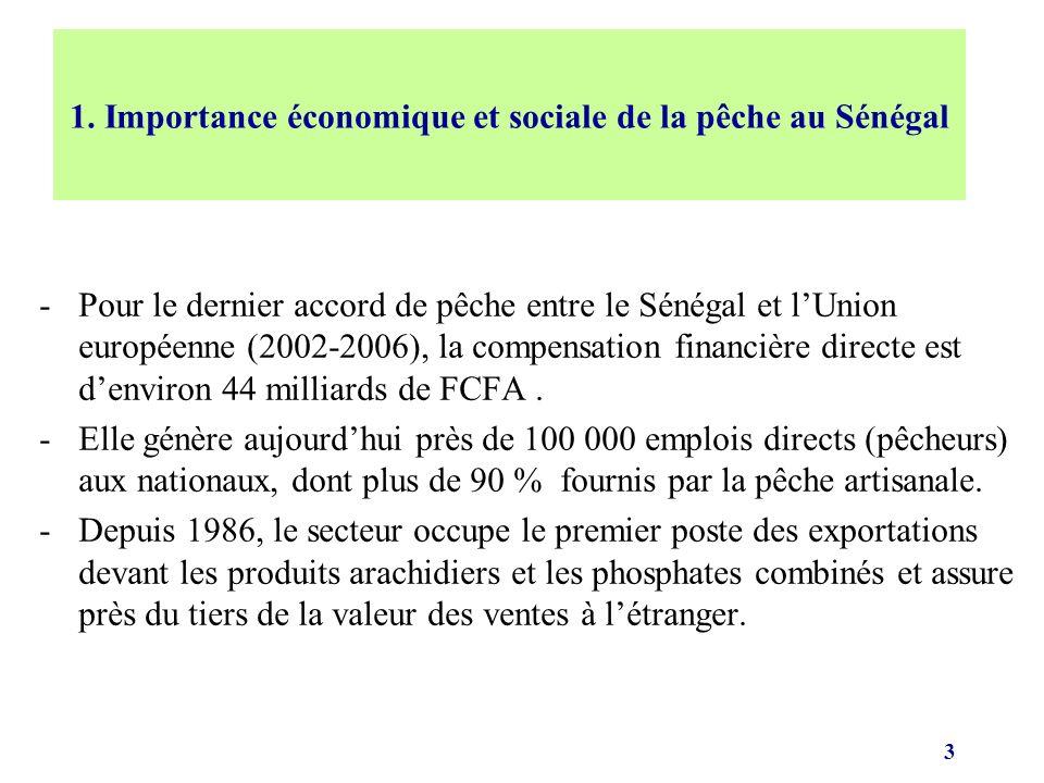 3 -Pour le dernier accord de pêche entre le Sénégal et lUnion européenne (2002-2006), la compensation financière directe est denviron 44 milliards de