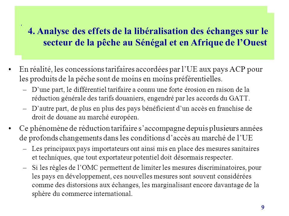 10 Effets sur les exportations: Les dispositifs commerciaux tels que les accords de Cotonou associant lEurope au Sénégal et autres pays de la Sous-Région ont mis les filières halieutiques dans une situation de fausse compétitivité et de dépendance accrue vis-à-vis du marché européen à cause des privilèges accordés (exonération des droits de douane et non limitation des quantités à lentrée).