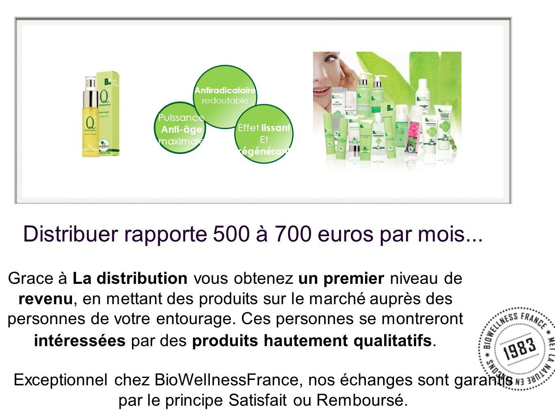 Distribuer rapporte 500 à 700 euros par mois... Grace à La distribution vous obtenez un premier niveau de revenu, en mettant des produits sur le march