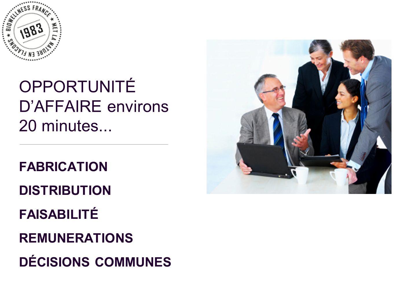 FABRICATION DISTRIBUTION FAISABILITÉ REMUNERATIONS DÉCISIONS COMMUNES OPPORTUNITÉ DAFFAIRE environs 20 minutes...