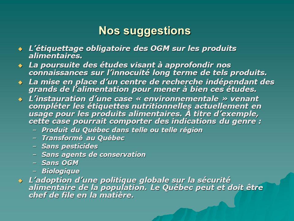 Nos suggestions Nos suggestions Létiquettage obligatoire des OGM sur les produits alimentaires.