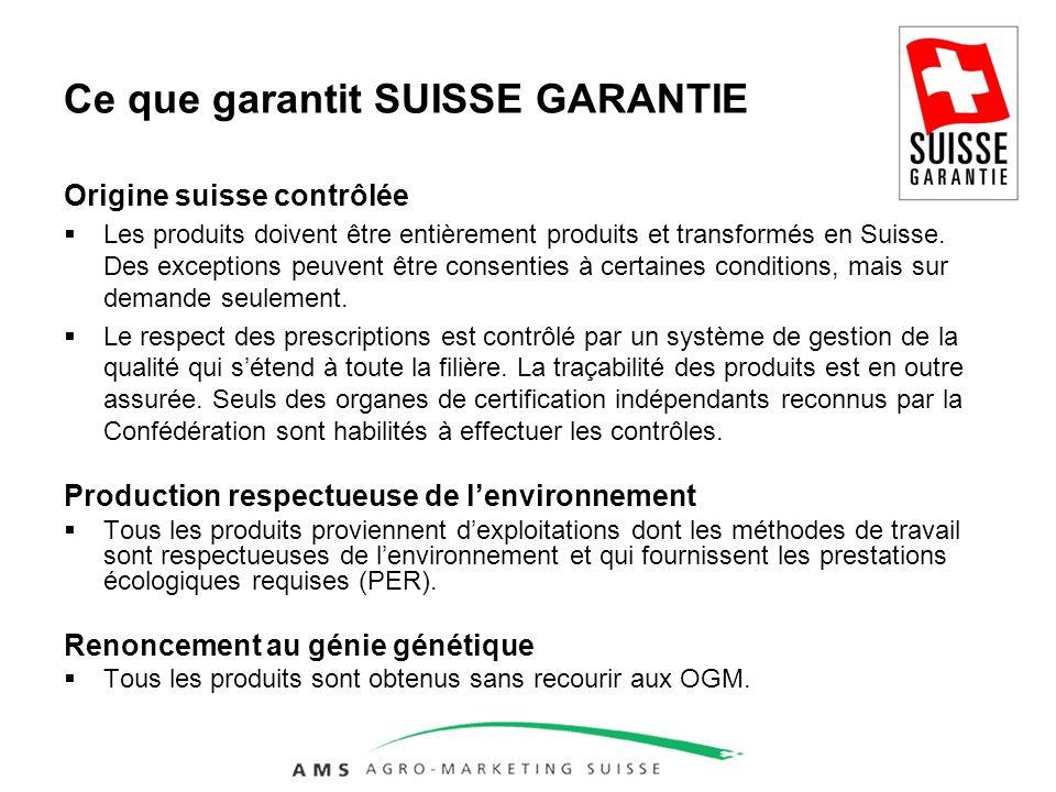 Ce que garantit SUISSE GARANTIE Origine suisse contrôlée Les produits doivent être entièrement produits et transformés en Suisse.