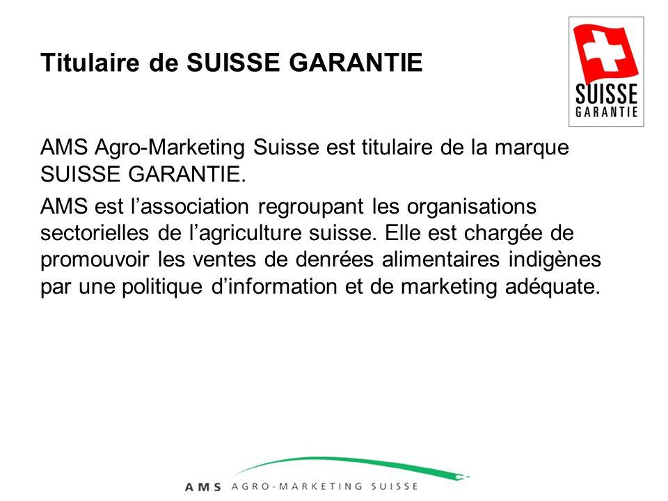 Titulaire de SUISSE GARANTIE AMS Agro-Marketing Suisse est titulaire de la marque SUISSE GARANTIE.