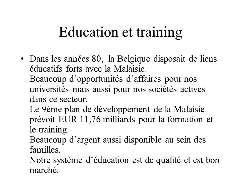 Education et training Dans les années 80, la Belgique disposait de liens éducatifs forts avec la Malaisie.