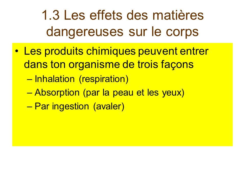 1.3 Les effets des matières dangereuses sur le corps Les produits chimiques peuvent entrer dans ton organisme de trois façons –Inhalation (respiration