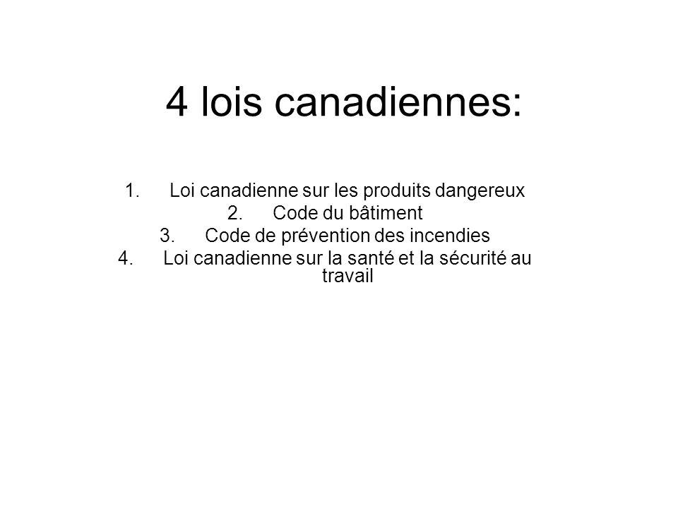 4 lois canadiennes: 1.Loi canadienne sur les produits dangereux 2.Code du bâtiment 3.Code de prévention des incendies 4.Loi canadienne sur la santé et