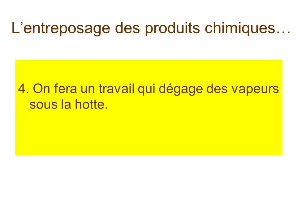Lentreposage des produits chimiques… 4. On fera un travail qui dégage des vapeurs sous la hotte.