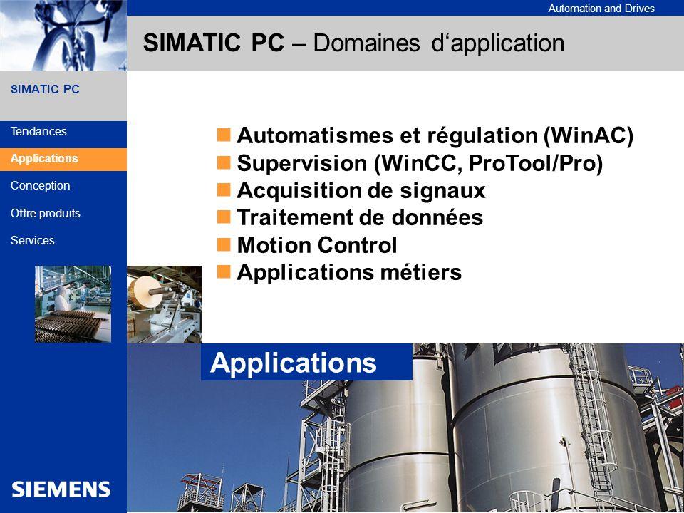 A&D Siemens France 3SIMATIC PC - Designed to Industry Automation and Drives SIMATIC PC Industrie Automobile (Bancs de test..) Etude et Mécanique (Calculateur robot) Ordonnancement de lots (Gestion de recette) Unité de stockage (Consignateur détats) Industrie Process (Conduite..) Bornes interactives SIMATIC PC – Domaines dapplication Secteurs dactivité Tendances Applications Conception Offre produits Services