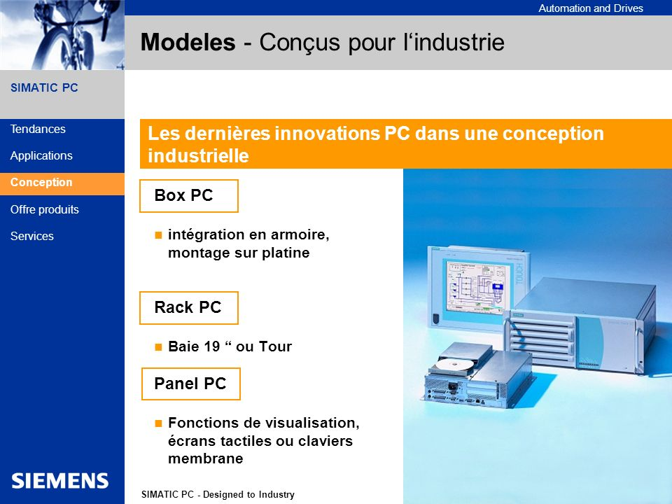 A&D Siemens France 6SIMATIC PC - Designed to Industry Automation and Drives SIMATIC PC Modeles - Conçus pour lindustrie Box PC intégration en armoire,