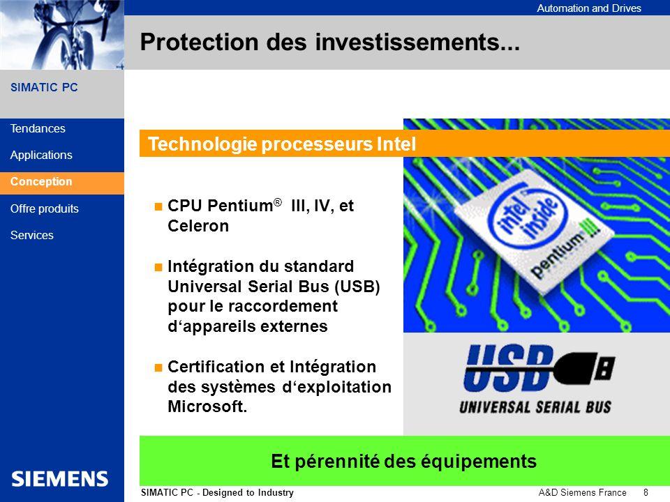 A&D Siemens France 9SIMATIC PC - Designed to Industry Automation and Drives SIMATIC PC Sécurité dexploitation...