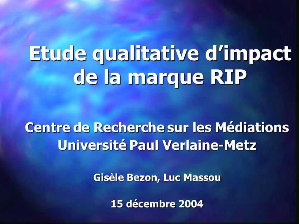 Etude qualitative dimpact de la marque RIP Centre de Recherche sur les Médiations Université Paul Verlaine-Metz Gisèle Bezon, Luc Massou 15 décembre 2