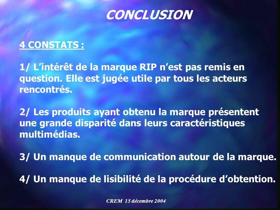 CONCLUSION 4 CONSTATS : 1/ Lintérêt de la marque RIP nest pas remis en question. Elle est jugée utile par tous les acteurs rencontrés. 2/ Les produits
