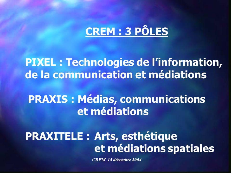 CREM : 3 PÔLES PIXEL : Technologies de linformation, de la communication et médiations PRAXIS : Médias, communications et médiations PRAXITELE : Arts,