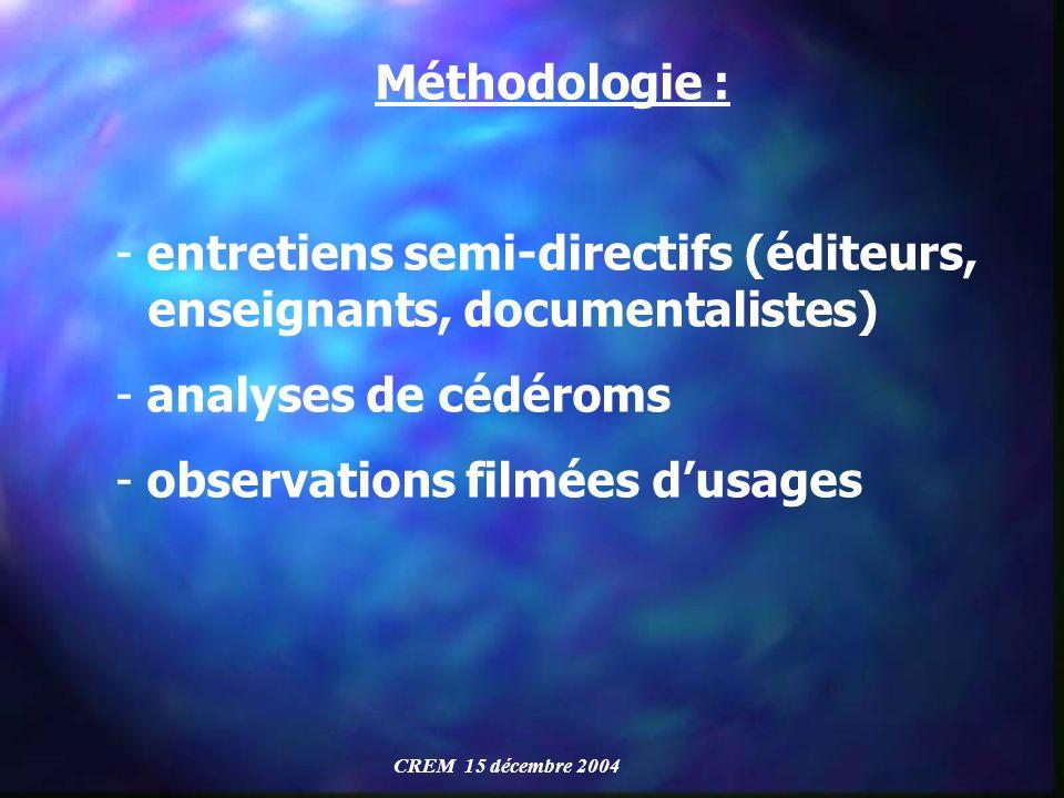 Méthodologie : - entretiens semi-directifs (éditeurs, enseignants, documentalistes) - analyses de cédéroms - observations filmées dusages CREM 15 déce