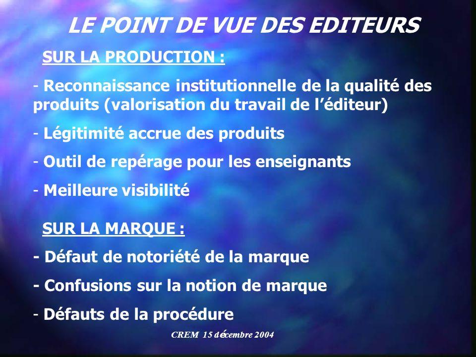 LE POINT DE VUE DES EDITEURS SUR LA PRODUCTION : - Reconnaissance institutionnelle de la qualité des produits (valorisation du travail de léditeur) -