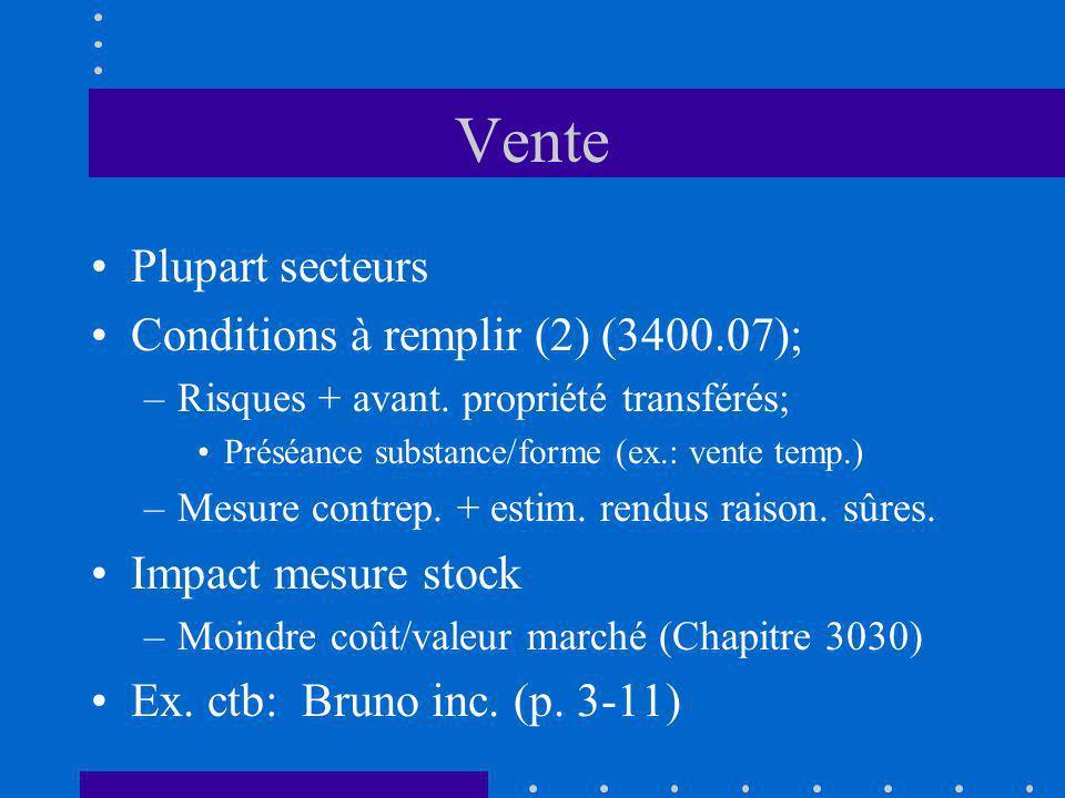 Vente Plupart secteurs Conditions à remplir (2) (3400.07); –Risques + avant. propriété transférés; Préséance substance/forme (ex.: vente temp.) –Mesur
