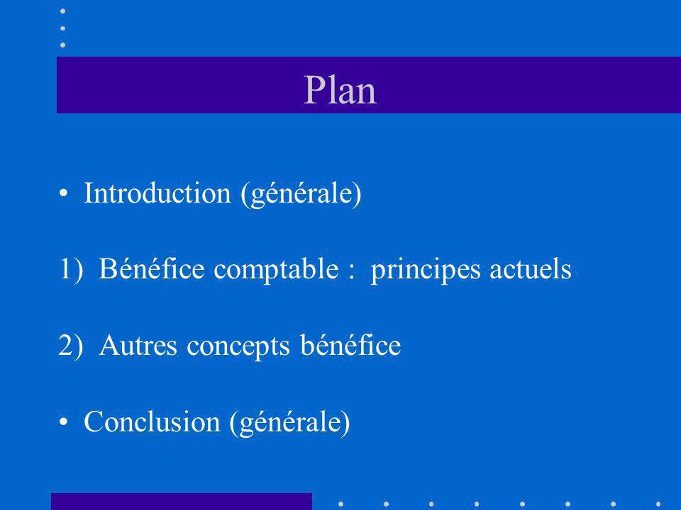 Plan Introduction (générale) 1) Bénéfice comptable : principes actuels 2) Autres concepts bénéfice Conclusion (générale)