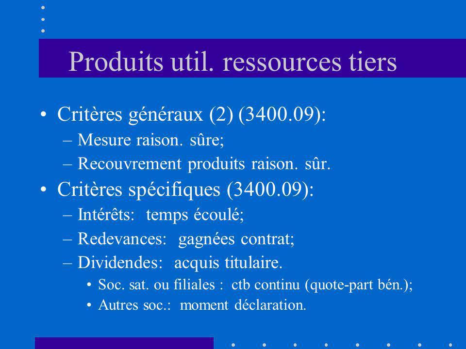 Produits util. ressources tiers Critères généraux (2) (3400.09): –Mesure raison. sûre; –Recouvrement produits raison. sûr. Critères spécifiques (3400.