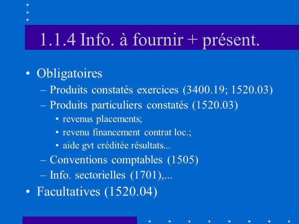 1.1.4 Info. à fournir + présent. Obligatoires –Produits constatés exercices (3400.19; 1520.03) –Produits particuliers constatés (1520.03) revenus plac