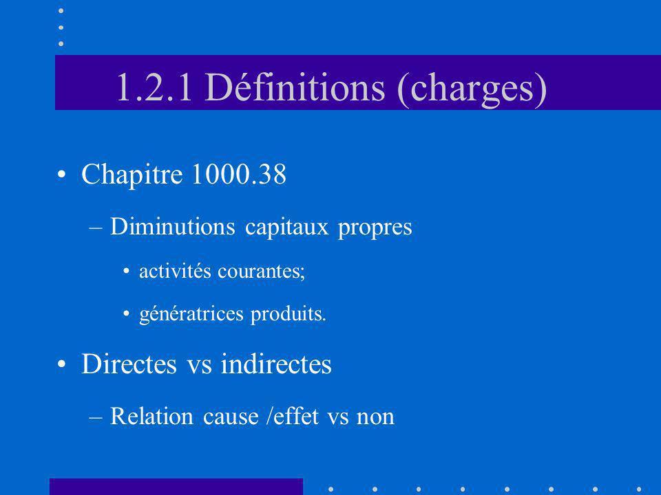 1.2.1 Définitions (charges) Chapitre 1000.38 –Diminutions capitaux propres activités courantes; génératrices produits. Directes vs indirectes –Relatio