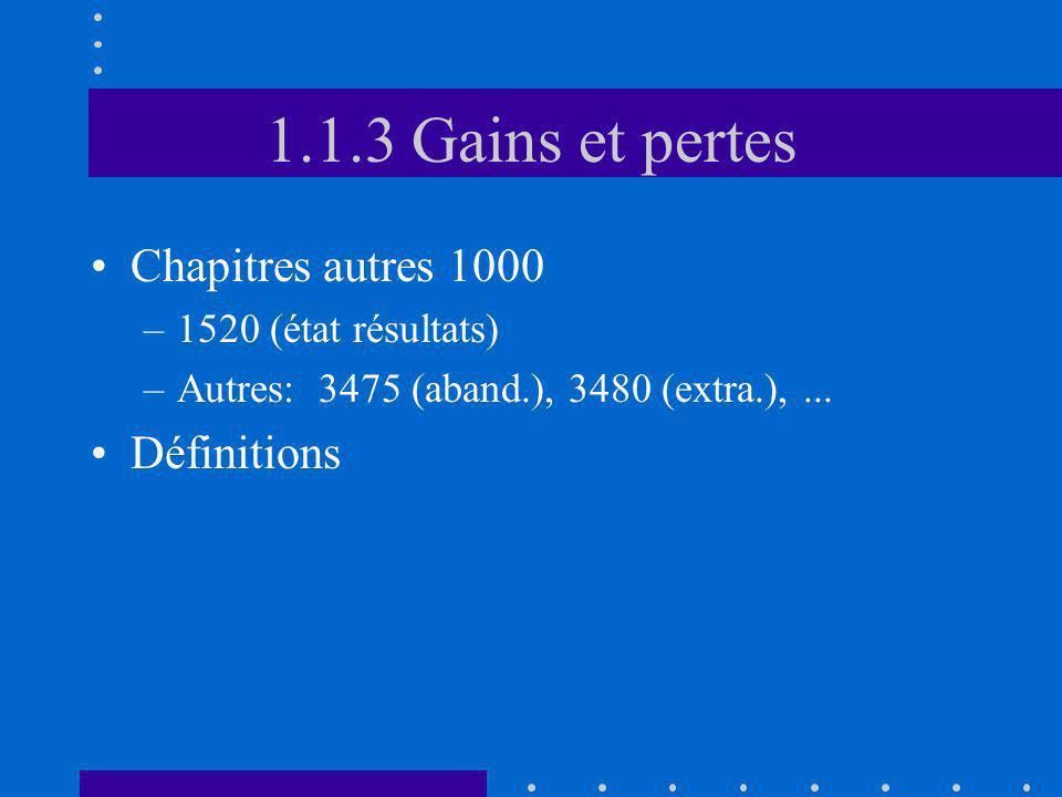1.1.3 Gains et pertes Chapitres autres 1000 –1520 (état résultats) –Autres: 3475 (aband.), 3480 (extra.),... Définitions