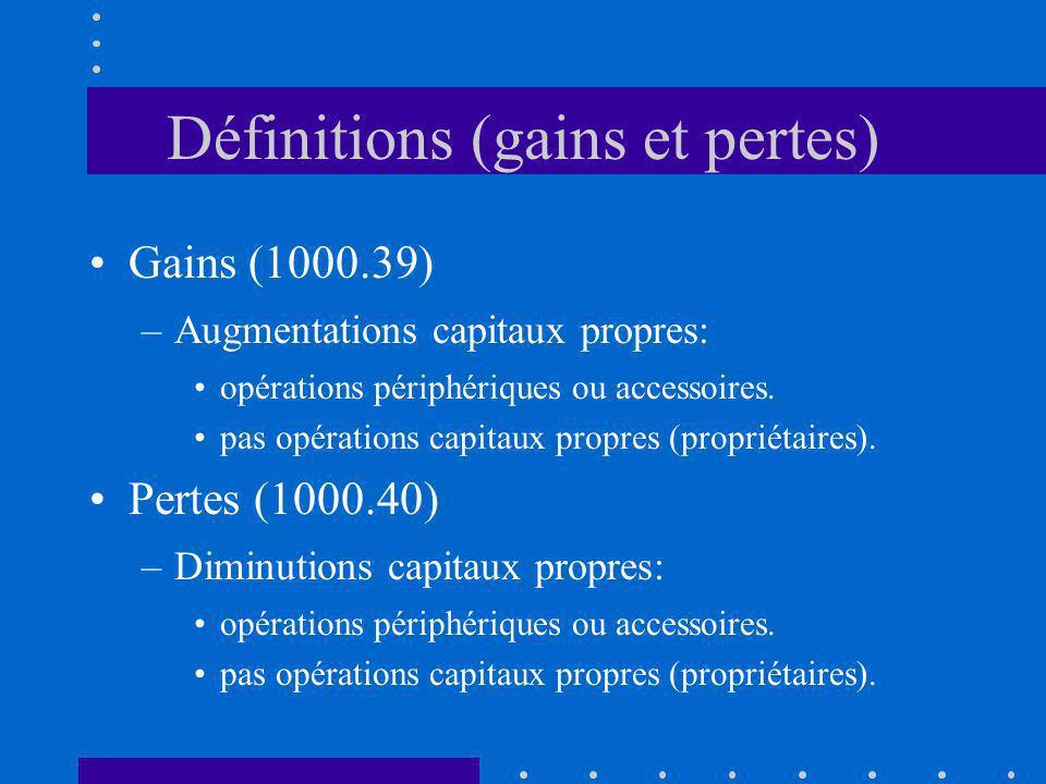 Définitions (gains et pertes) Gains (1000.39) –Augmentations capitaux propres: opérations périphériques ou accessoires. pas opérations capitaux propre