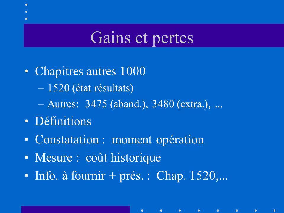 Gains et pertes Chapitres autres 1000 –1520 (état résultats) –Autres: 3475 (aband.), 3480 (extra.),... Définitions Constatation : moment opération Mes