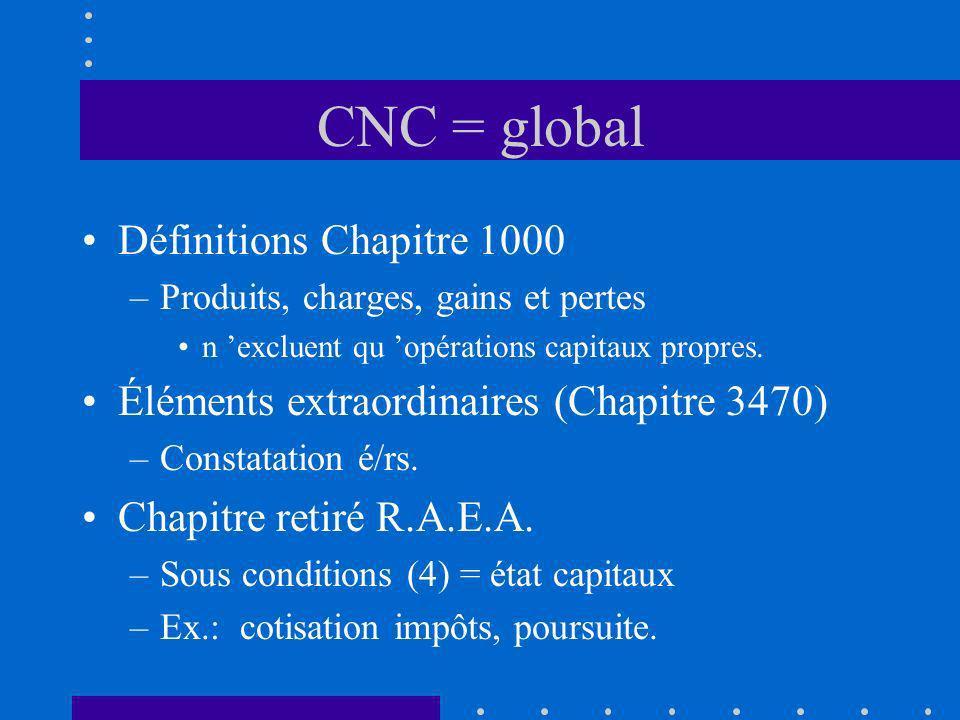 CNC = global Définitions Chapitre 1000 –Produits, charges, gains et pertes n excluent qu opérations capitaux propres. Éléments extraordinaires (Chapit