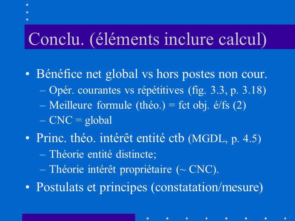 Conclu. (éléments inclure calcul) Bénéfice net global vs hors postes non cour. –Opér. courantes vs répétitives (fig. 3.3, p. 3.18) –Meilleure formule