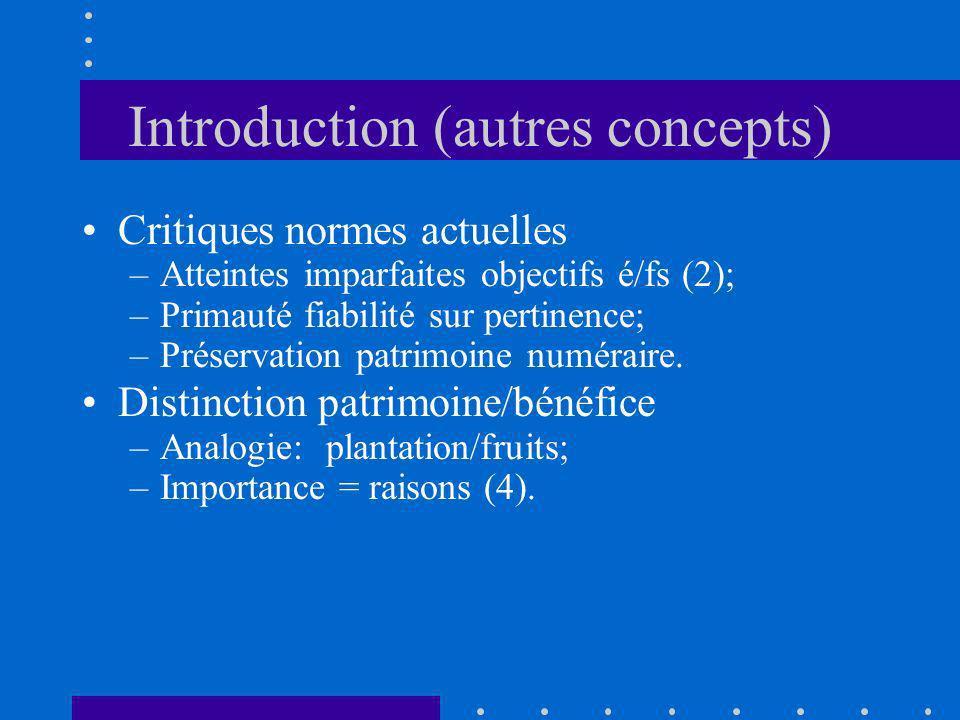 Introduction (autres concepts) Critiques normes actuelles –Atteintes imparfaites objectifs é/fs (2); –Primauté fiabilité sur pertinence; –Préservation
