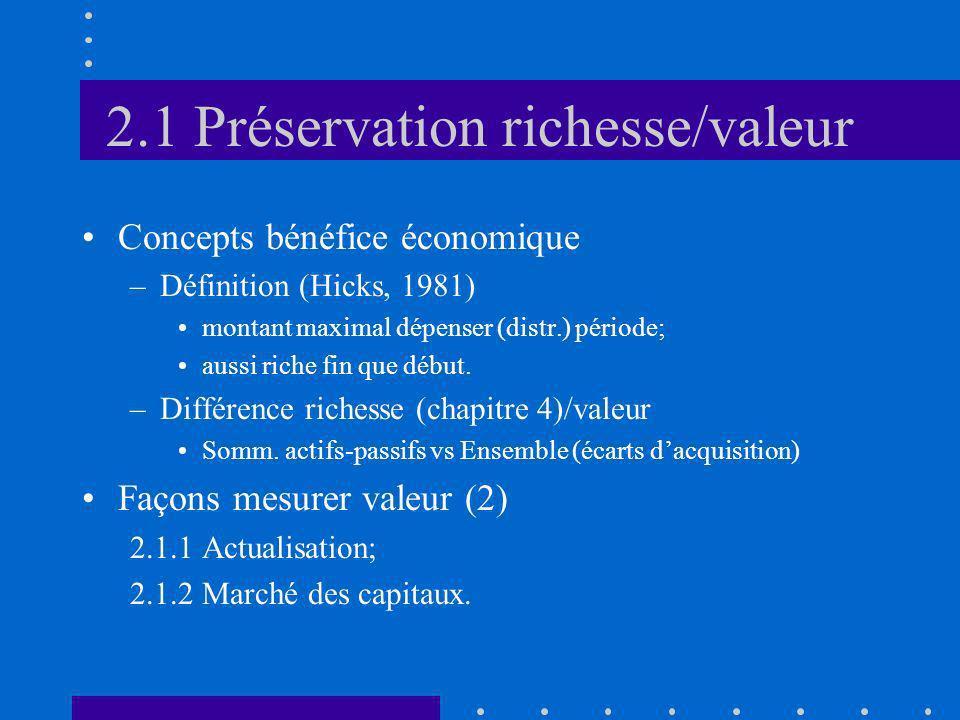 2.1 Préservation richesse/valeur Concepts bénéfice économique –Définition (Hicks, 1981) montant maximal dépenser (distr.) période; aussi riche fin que