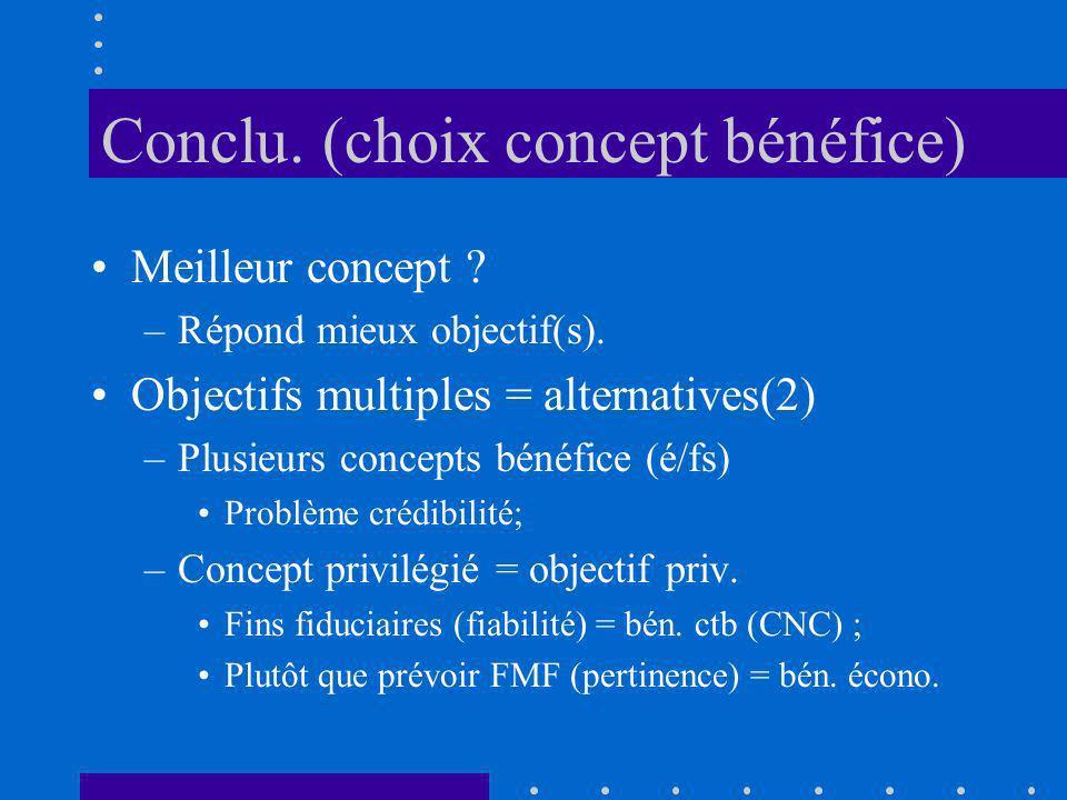 Conclu. (choix concept bénéfice) Meilleur concept ? –Répond mieux objectif(s). Objectifs multiples = alternatives(2) –Plusieurs concepts bénéfice (é/f