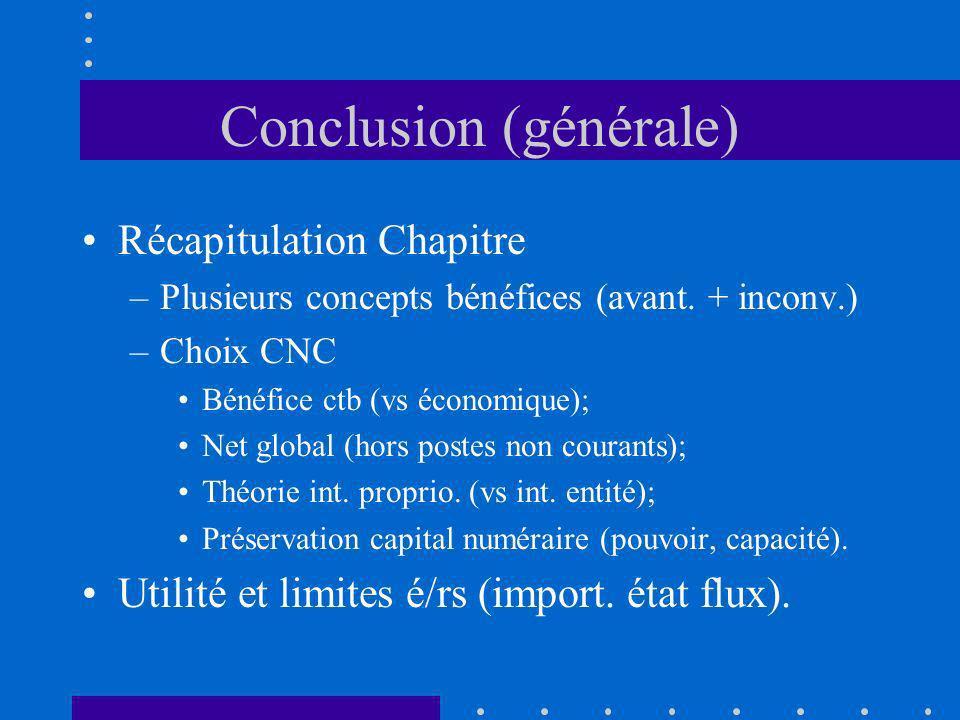Conclusion (générale) Récapitulation Chapitre –Plusieurs concepts bénéfices (avant. + inconv.) –Choix CNC Bénéfice ctb (vs économique); Net global (ho