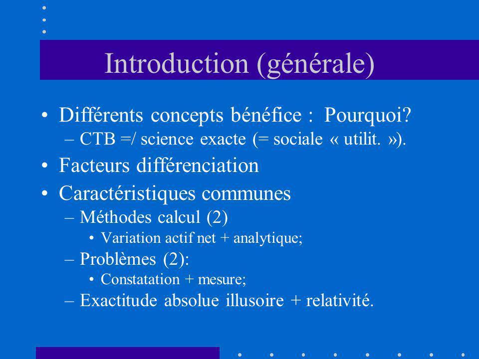 Introduction (générale) Différents concepts bénéfice : Pourquoi? –CTB =/ science exacte (= sociale « utilit. »). Facteurs différenciation Caractéristi