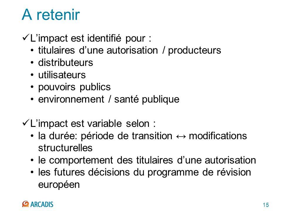 15 A retenir Limpact est identifié pour : titulaires dune autorisation / producteurs distributeurs utilisateurs pouvoirs publics environnement / santé