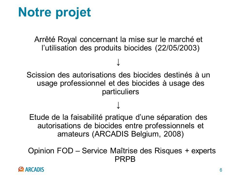 6 Notre projet Arrêté Royal concernant la mise sur le marché et lutilisation des produits biocides (22/05/2003) Scission des autorisations des biocide
