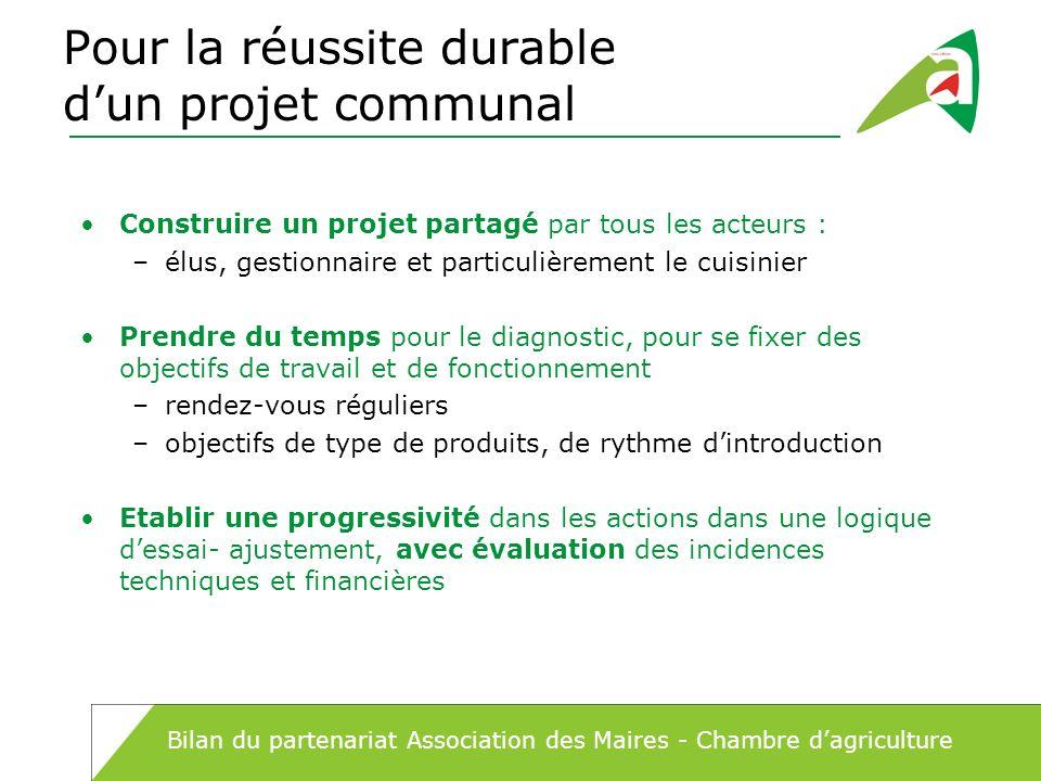 Pour la réussite durable dun projet communal Construire un projet partagé par tous les acteurs : –élus, gestionnaire et particulièrement le cuisinier