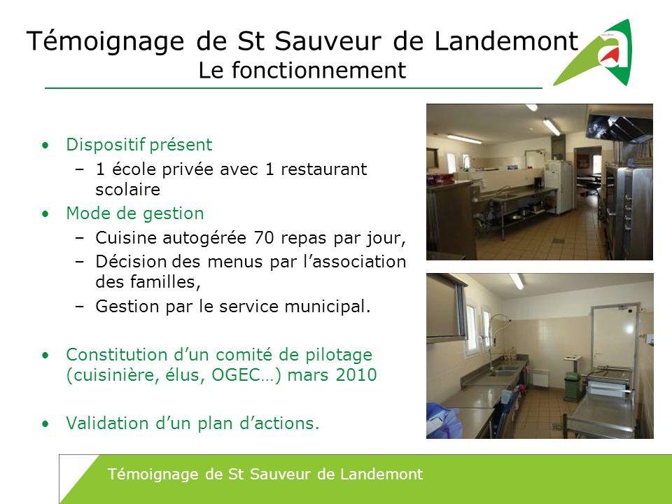 Témoignage de St Sauveur de Landemont Le fonctionnement Dispositif présent –1 école privée avec 1 restaurant scolaire Mode de gestion –Cuisine autogér