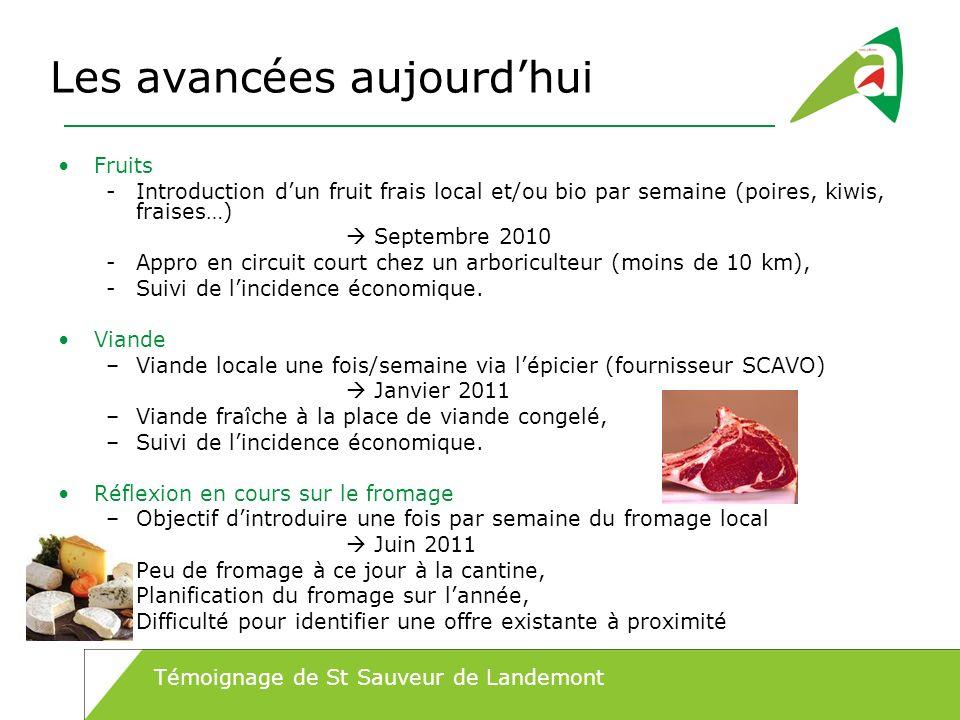 Les avancées aujourdhui Fruits -Introduction dun fruit frais local et/ou bio par semaine (poires, kiwis, fraises…) Septembre 2010 -Appro en circuit co