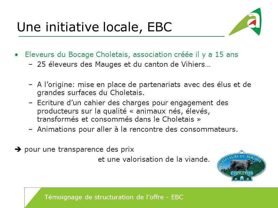 Une initiative locale, EBC Eleveurs du Bocage Choletais, association créée il y a 15 ans –25 éleveurs des Mauges et du canton de Vihiers… –A lorigine:
