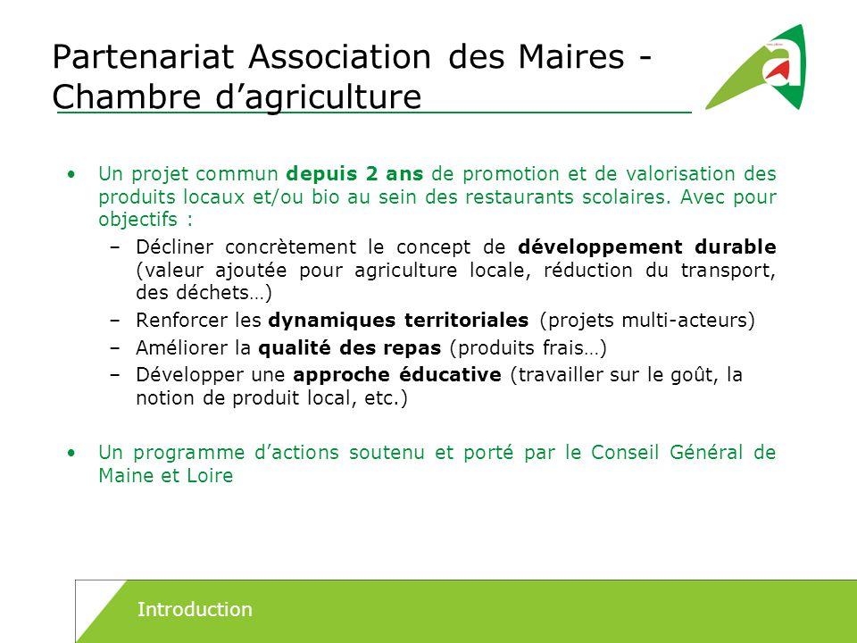 Partenariat Association des Maires - Chambre dagriculture Un projet commun depuis 2 ans de promotion et de valorisation des produits locaux et/ou bio