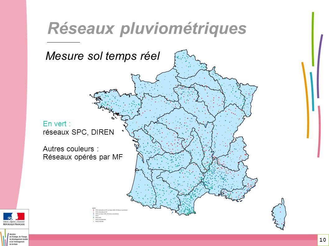 10 Réseaux pluviométriques En vert : réseaux SPC, DIREN Autres couleurs : Réseaux opérés par MF Mesure sol temps réel