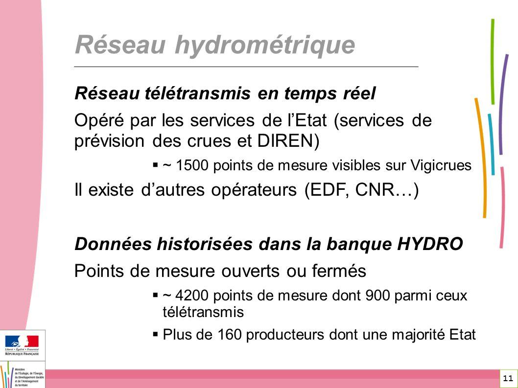 11 Réseau hydrométrique Réseau télétransmis en temps réel Opéré par les services de lEtat (services de prévision des crues et DIREN) ~ 1500 points de